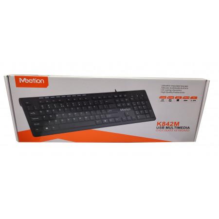 USB проводная клавиатура RU Ukr EN черная K842M TM Meetion