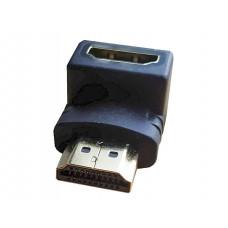 Переходник HDMI шт.-HDMI гн. угловой  gold пластик