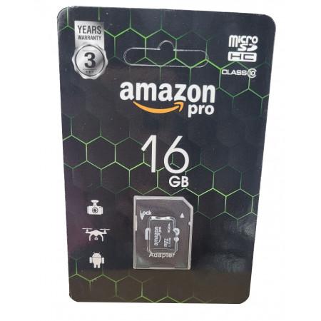 micro SDHC карта памяти AMAZONpro 16GB class 10 (с адаптером)