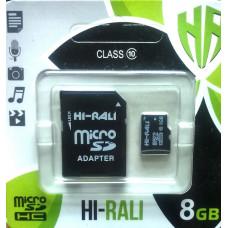 micro SDHC карта памяти HI-RALI  8GB class 10 (с адаптером)