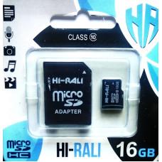 micro SDHC карта памяти HI-RALI  16GB class 10 (с адаптером)