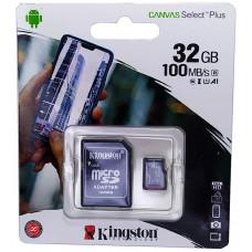 micro SDHC карта памяти Kingston 32GB class 10 (с адаптером)