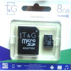 micro SDHC карта памяти T&G 8GB class 10 (с адаптером)