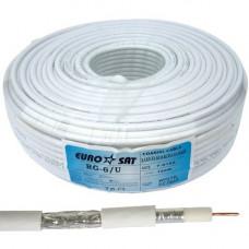 Коаксиальный кабель RG-6 EUROSAT F604ST 48жил. Жила омедненная . Белый 100м