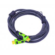 Кабель HDMI-HDMI c ферритовыми фильтрами 3 м. зелёный.